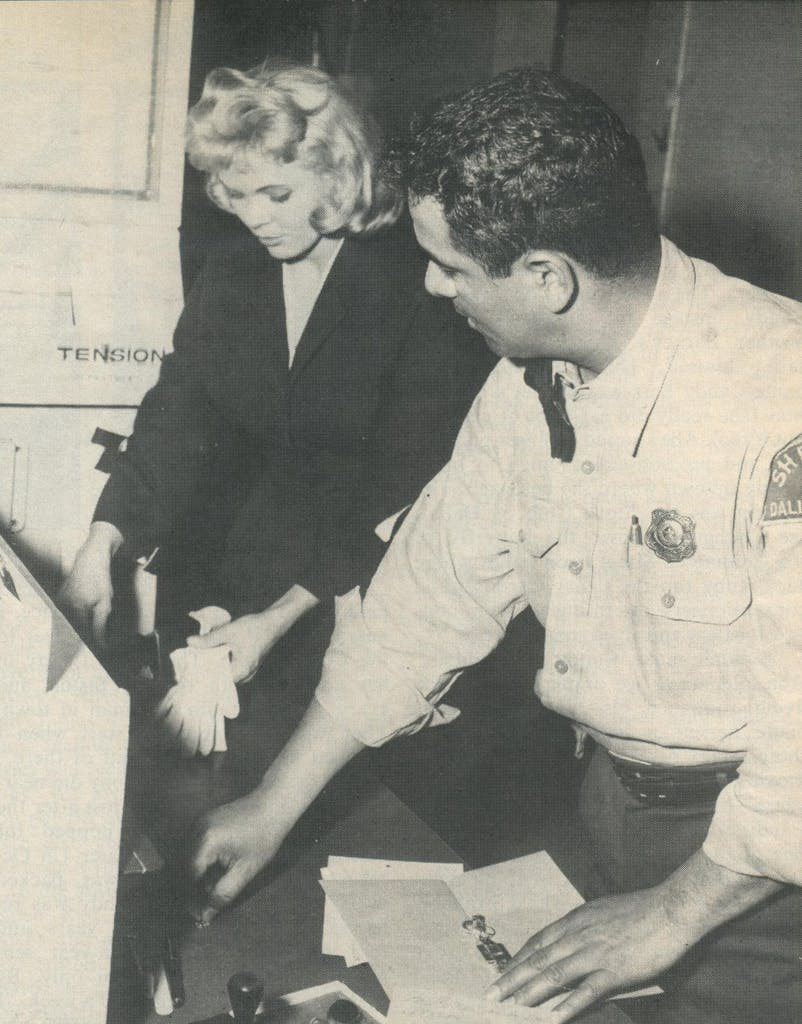 1958: Candy surrenders her belongings to Dallas County deputy Rudy Hernandez after being found guilty on a narcotics charge and sentenced to fifteen years.