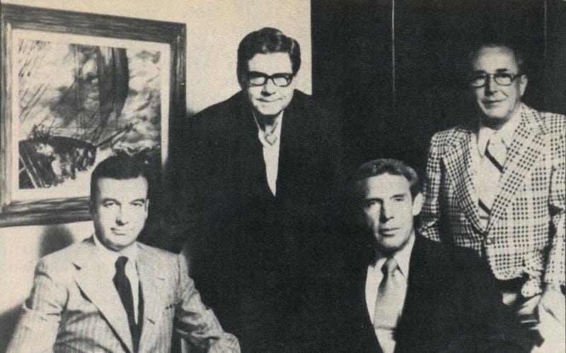 After Summa board meeting: (l. to r.) Lummis, West, Gay, and treasurer Rankin.
