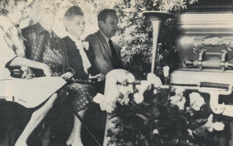 Aunt Annette Lummis (second from left) and family members at Hughes' funeral.