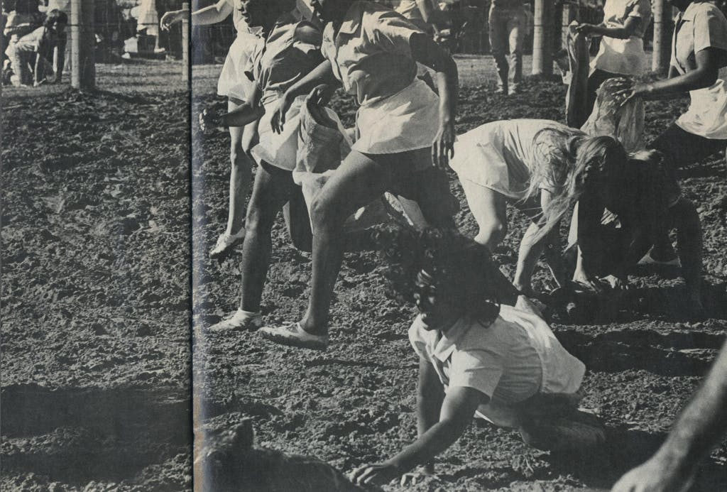 The short skirts worn by the women inmates for the greased pig sacking give the rodeo announcer an opportunity to make some heavy-handed jokes about sex deprivation.