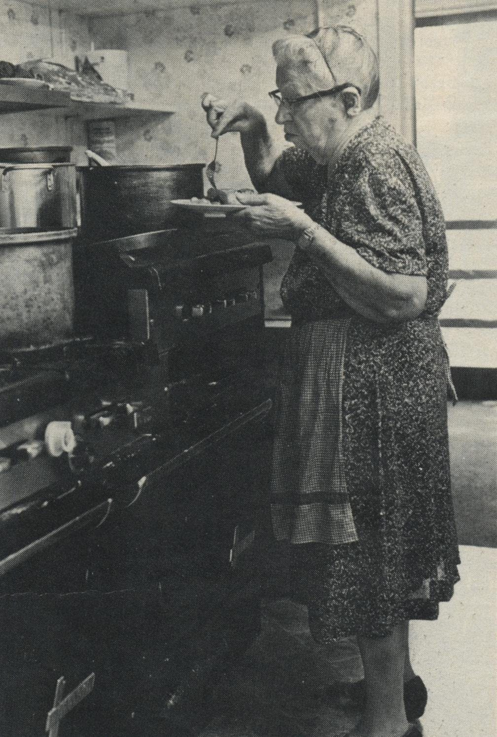 Mom's mom: Mrs. Carleton's favorite customer and critic is her own mother, who samples the Aggies' noontime fare.