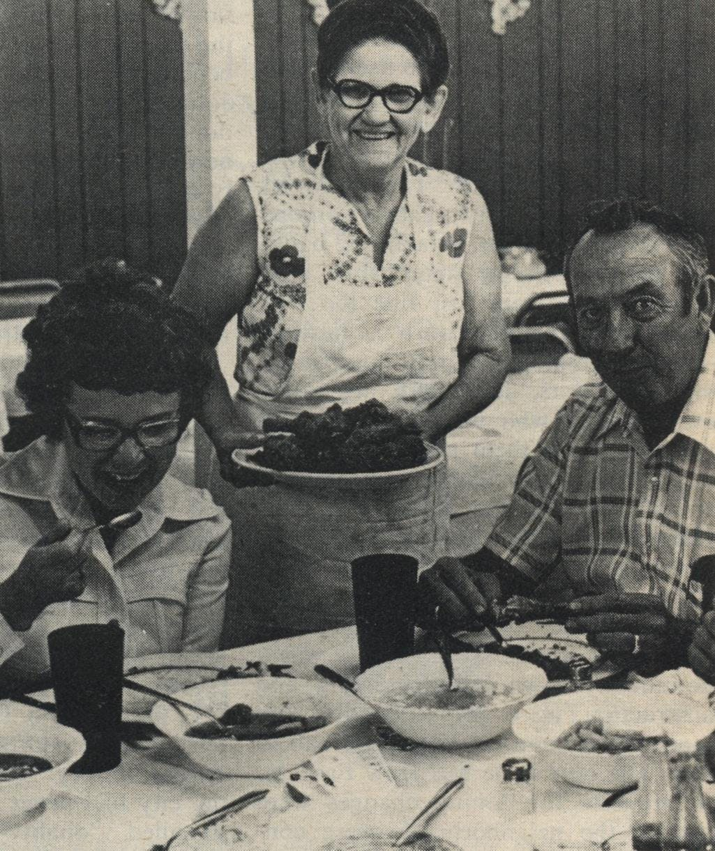 If it cackles, fry it: Mrs. M. B. Allen has been serving up platefuls of fried chicken in West Texas for 25 years.