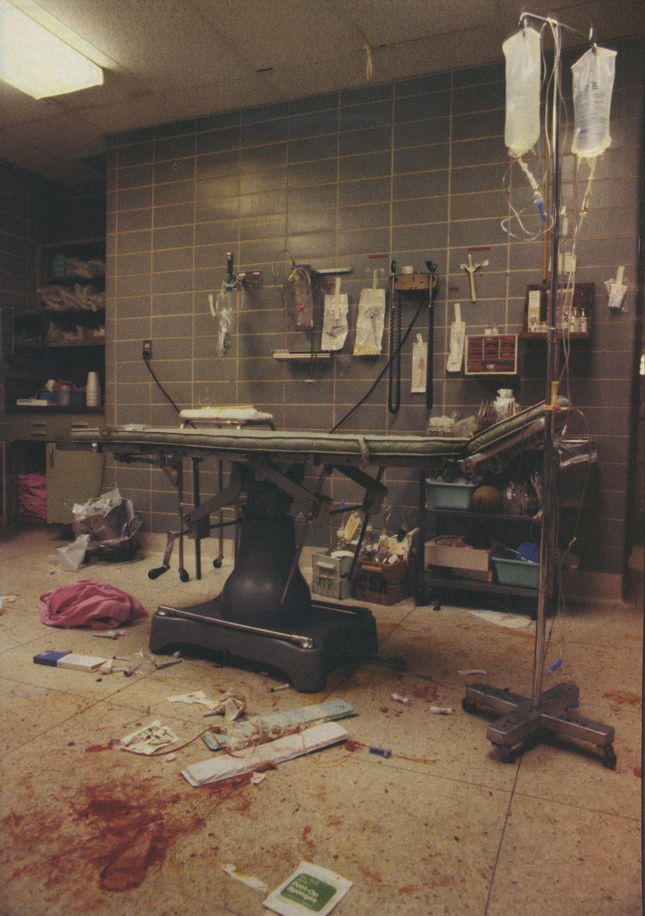 In the aftermath of treatment of an emergency patient, the shock room resembles an abandoned battlefield. This is not the end, however, but a momentary lull in the night's work in this backup room. Within a few minutes, the housekeeping crew will put things back together for the next case.