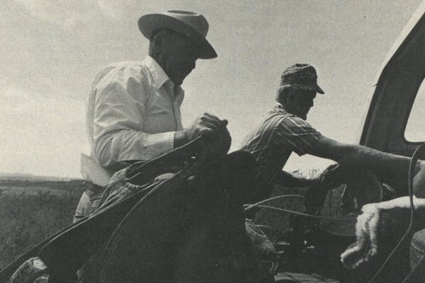 A cowboy's gear: Roy Godbold (l.) and Chili Bean Ridley run their ranches as the pioneers who settled this vast open land did—from the back of a horse.