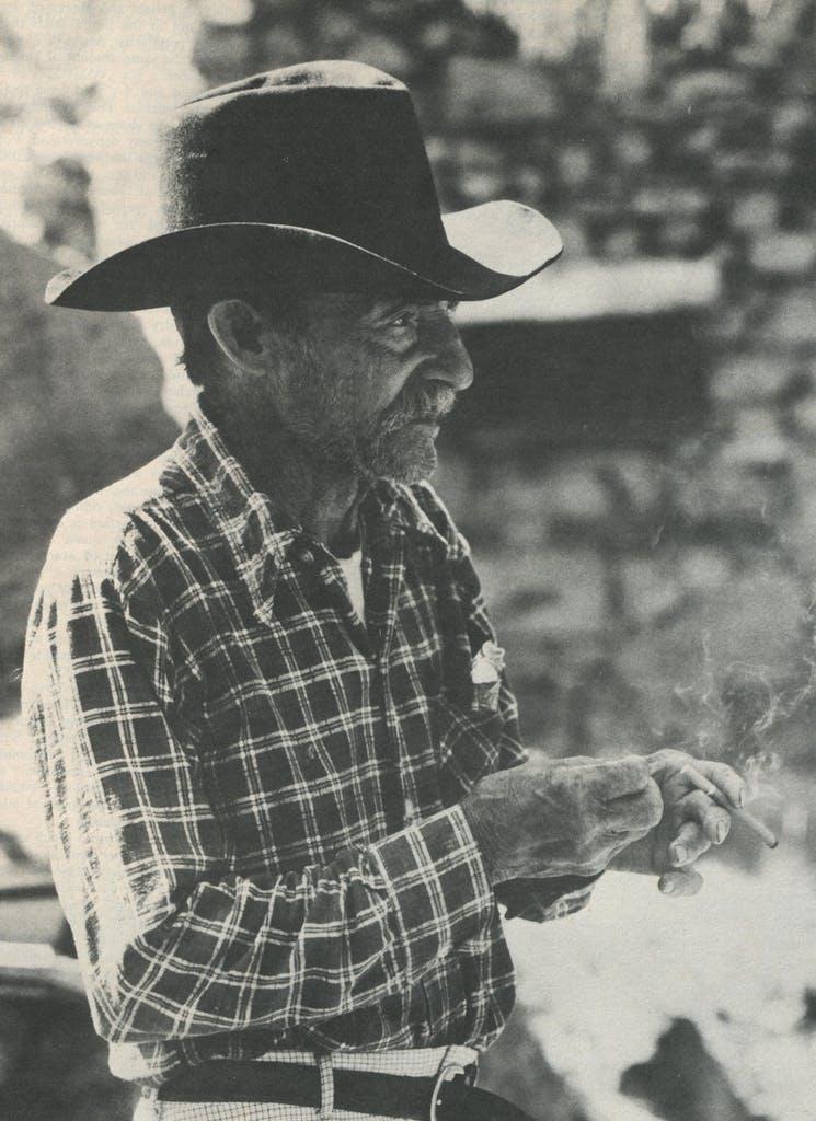 Evans Means, still tough at 85, has lived the frontiersman's life on his homestead beneath Sierra Vieja Pass since 1913.
