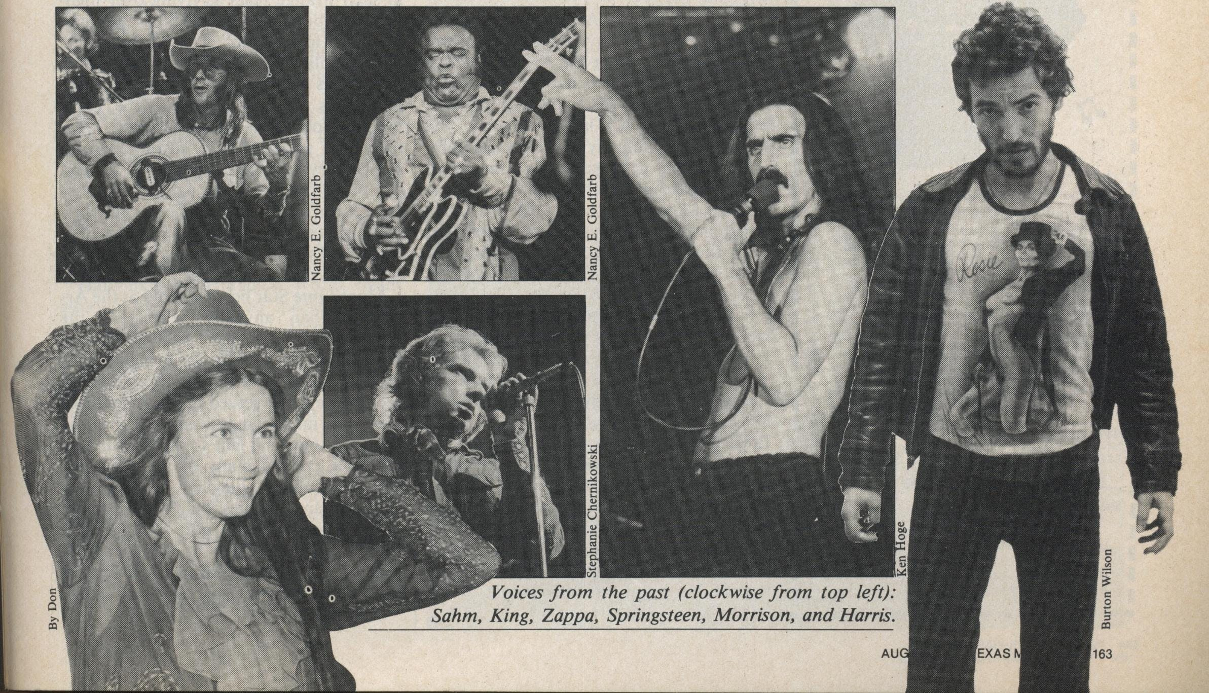 Voices from the past: Sahm, King, Zappa, Springsteen, Morrison, and Harris.