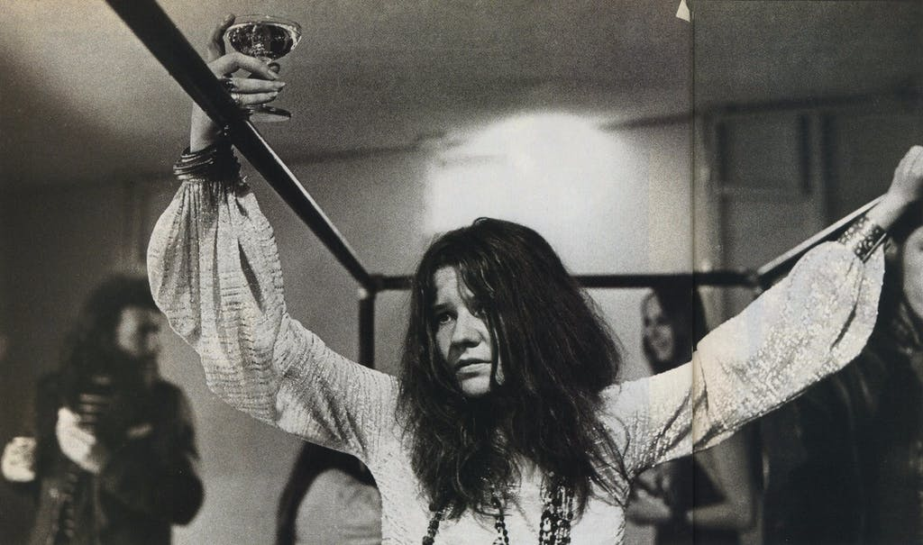 She had more friends in San Francisco than in Port Arthur, but Joplin (backstage at Winterland, 1968) pined for a Texas that never was.