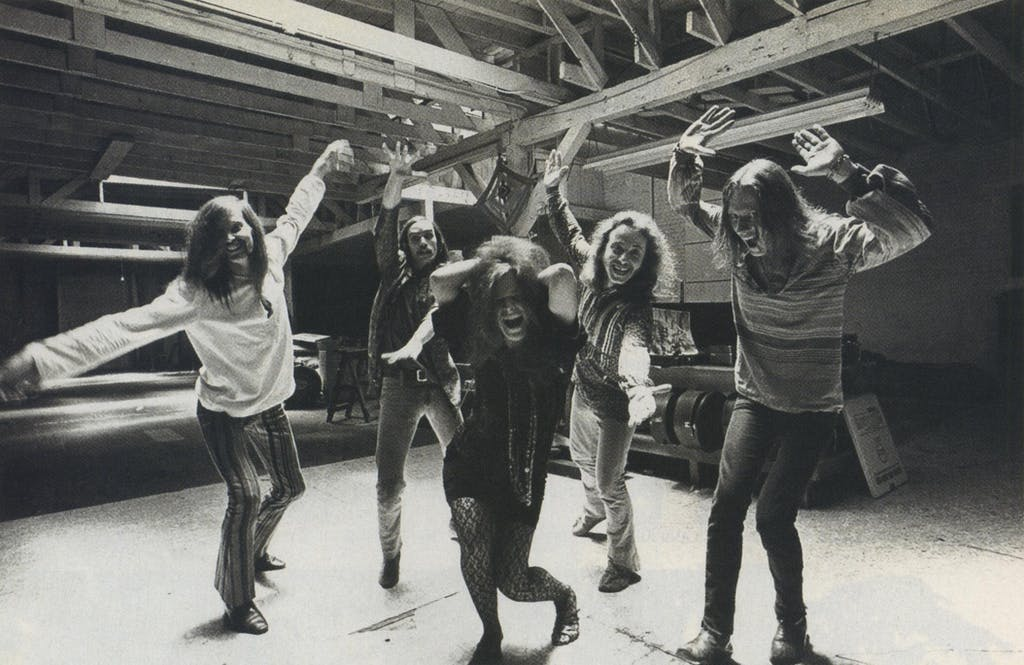 "Joplin took ""real seriously"" her work with Big Brother and the Holding Company (at the Golden Gate Street Rehearsal Hall, 1968)."