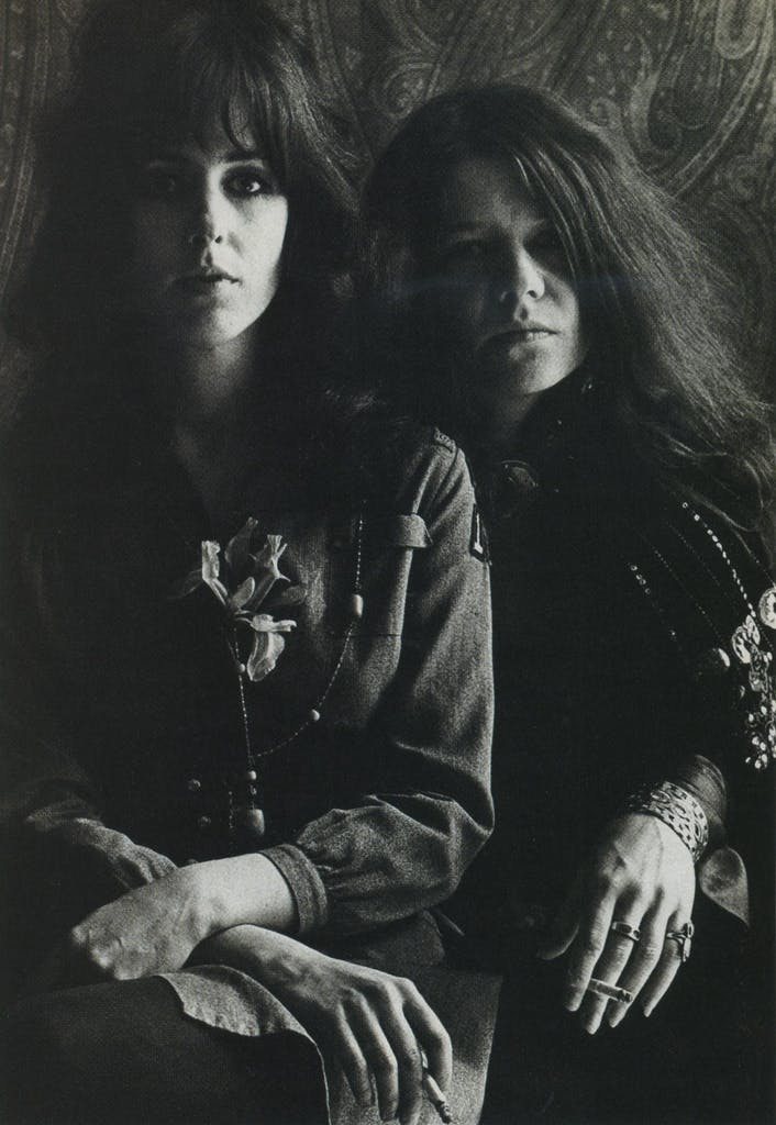At her height, Jopin was a psychedelia icon, on par with Grace Slick (above left, 1967).