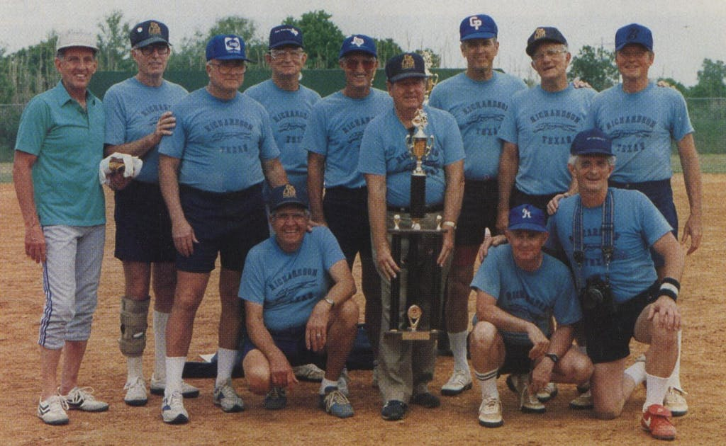 "According to one of his softball teammates, Albright (bottom right), would ""back down"" if another player challenged him: ""He literally could not stand the idea of fighting."""