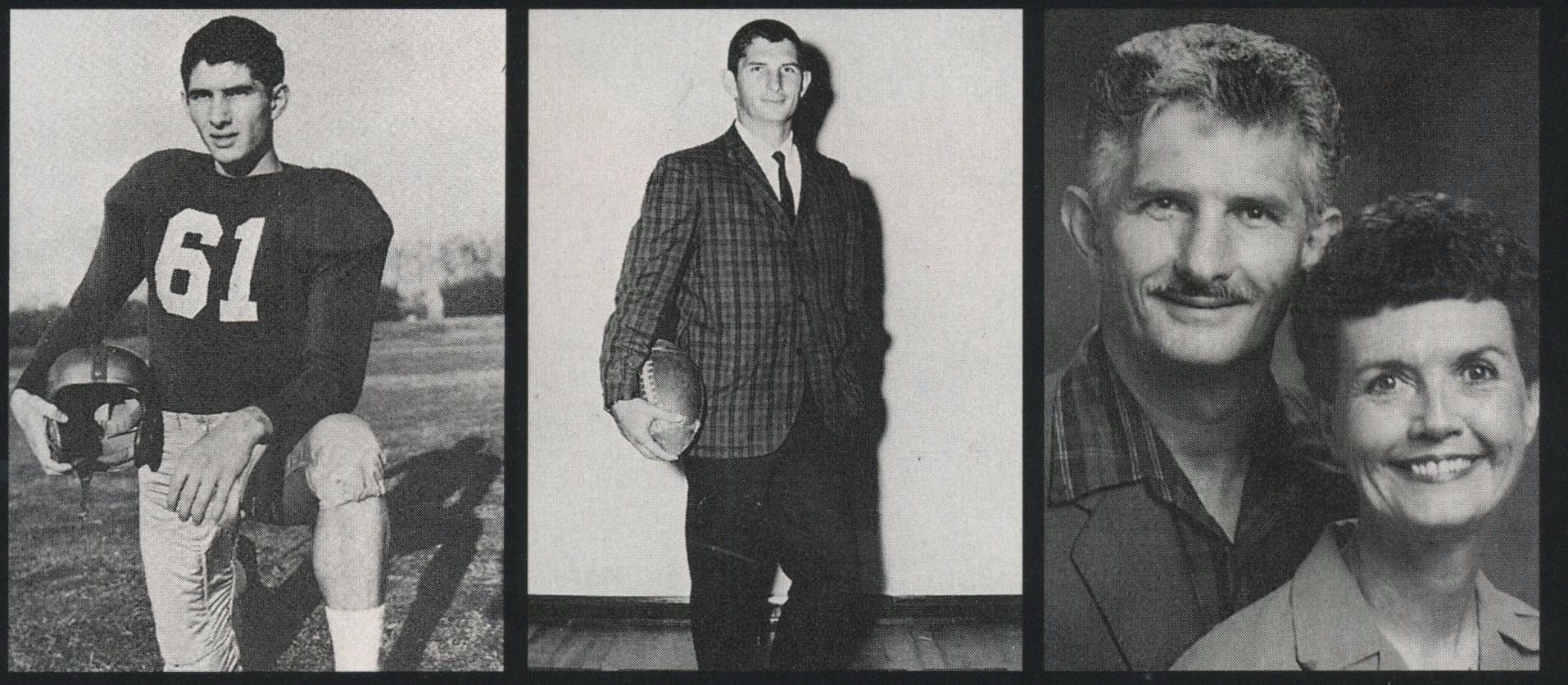 From left: At Arkansas State Teacher's College, Charlie was a great prankster and a star football player. At Crandall High School, he was everyone's favorite science teacher and football coach. And he was a model boyfriend for his last love, Dixie Austin.