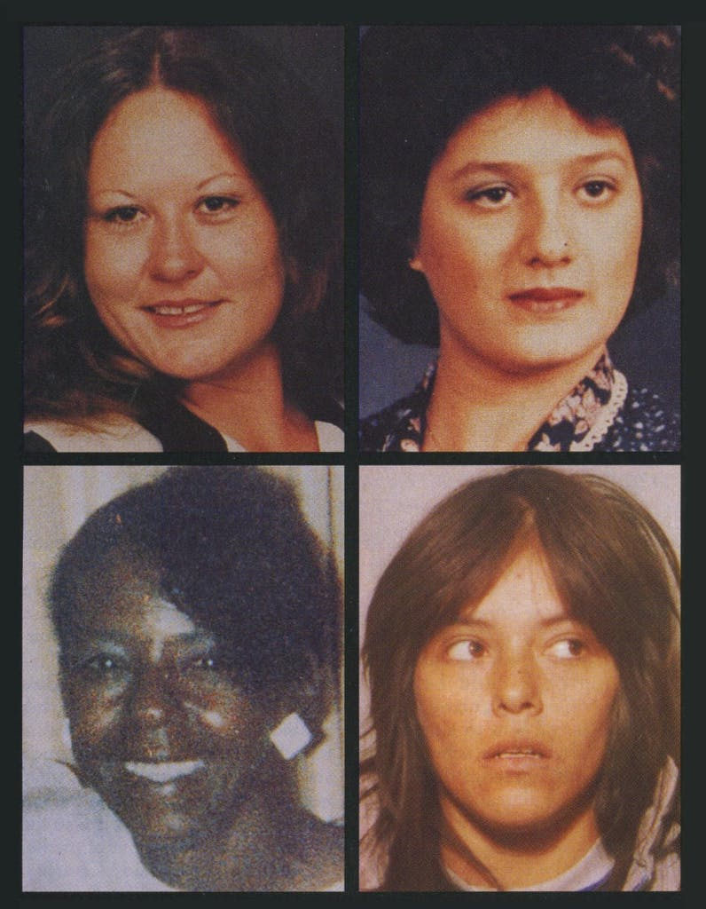 Albright's first two victims were found in south Dallas. They were Mary Pratt (top left), a well-liked prostitute who would stand quietly on her street corner and wait for tricks to drive by, and Susan Peterson (top right), a fearless hooker who would threaten other girls and curse the cops. His third victim, Shirley Williams (bottom left), who worked as a maid during the day and turned tricks at night, was found in Oak Cliff. Veronica Rodriguez (bottom right), initially told the police that Albright had tried to kill her too, but she changed her story.