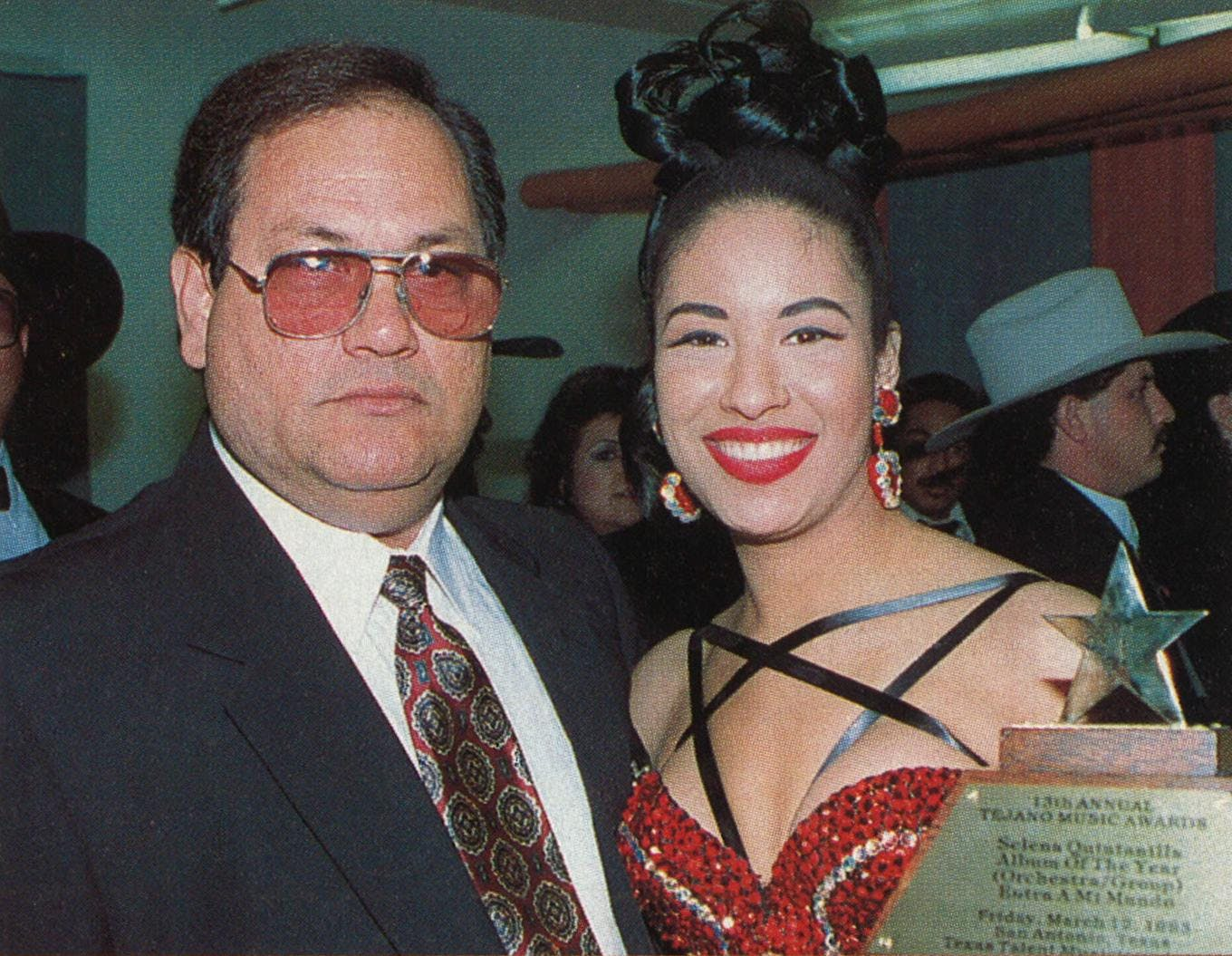 Selena and her father, Abraham Quintanilla, Jr., at the 1994 Tejano Music Awards.