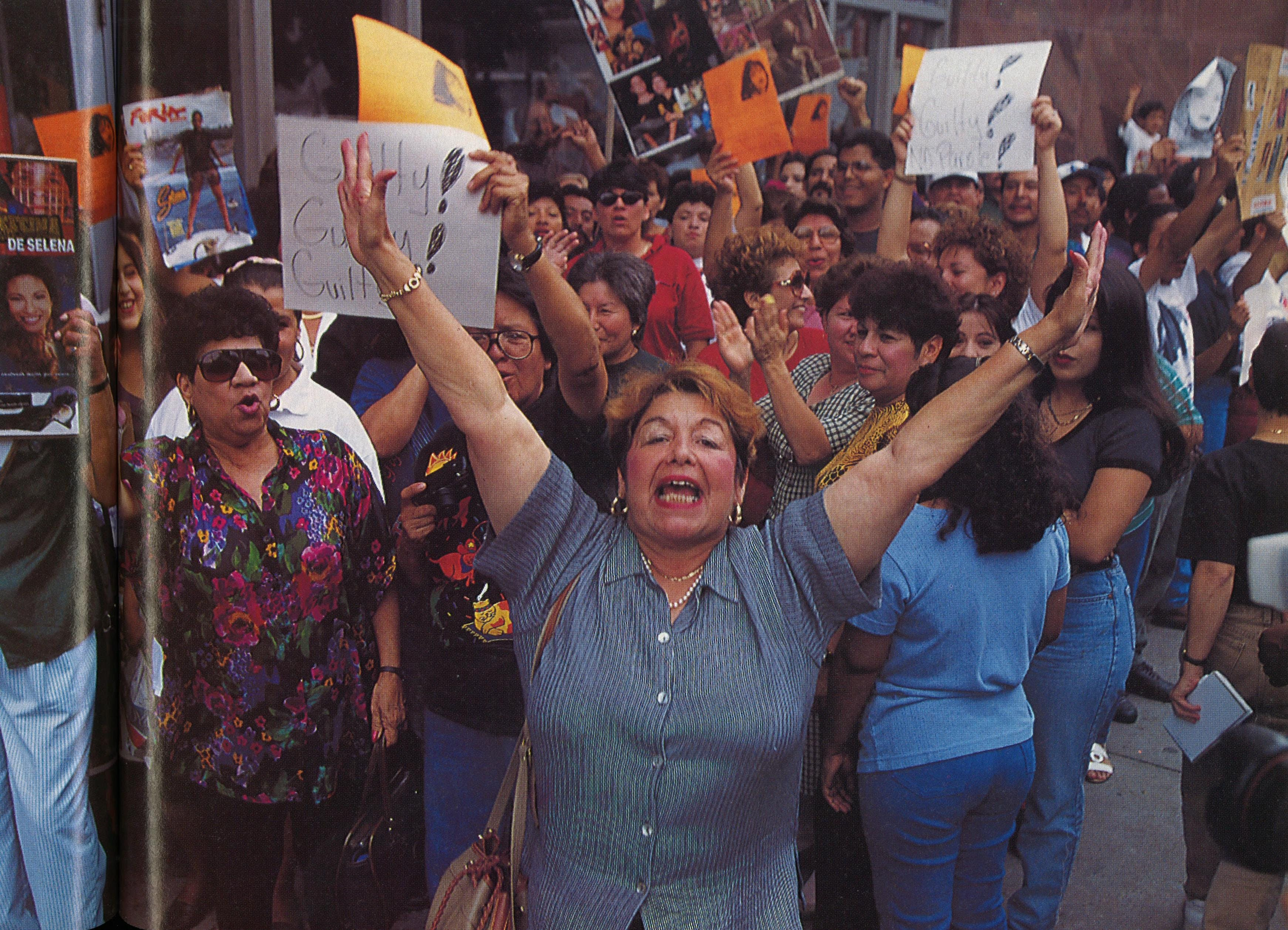 After the jury reached its verdict, hundreds of Selena's fans filled the streets around the Houston courthouse and celebrated the news.