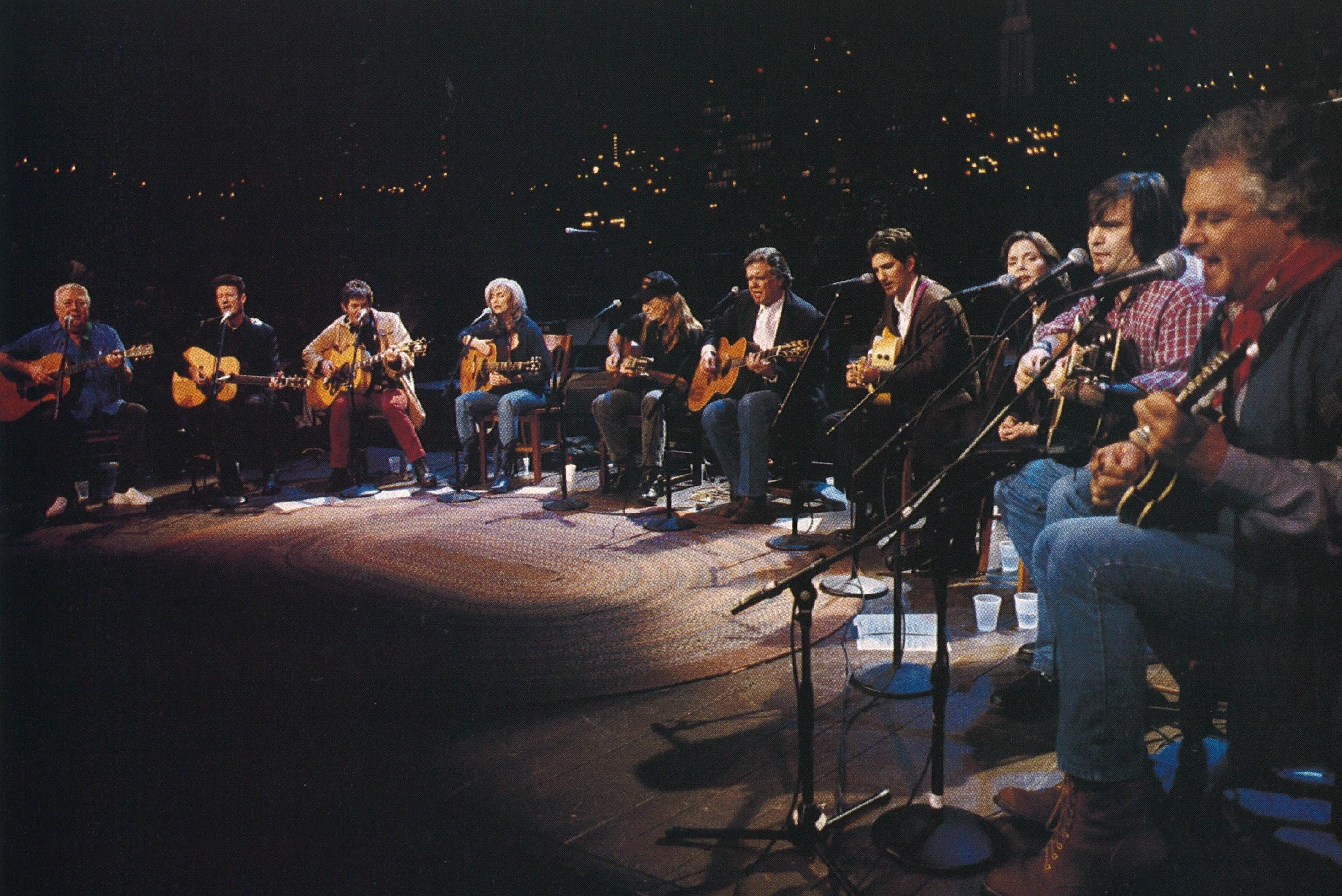 Talk of the Townes: At the Austin City Limits taping, his life and work were celebrated by (from left) Jack Clement, Lyle Lovett, Rodney Crowell, Emmylou Harris, Willie Nelson, Guy Clark, John Townes Van Zandt, Nanci Griffith, Steve Earle, and Peter Rowan.