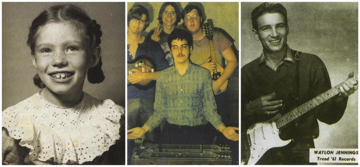 From left: 1952: Jo Carol Pierce in grade school. 1970: Guy Juke (center) and his band. 1961: A publicity still of Waylon Jennings.