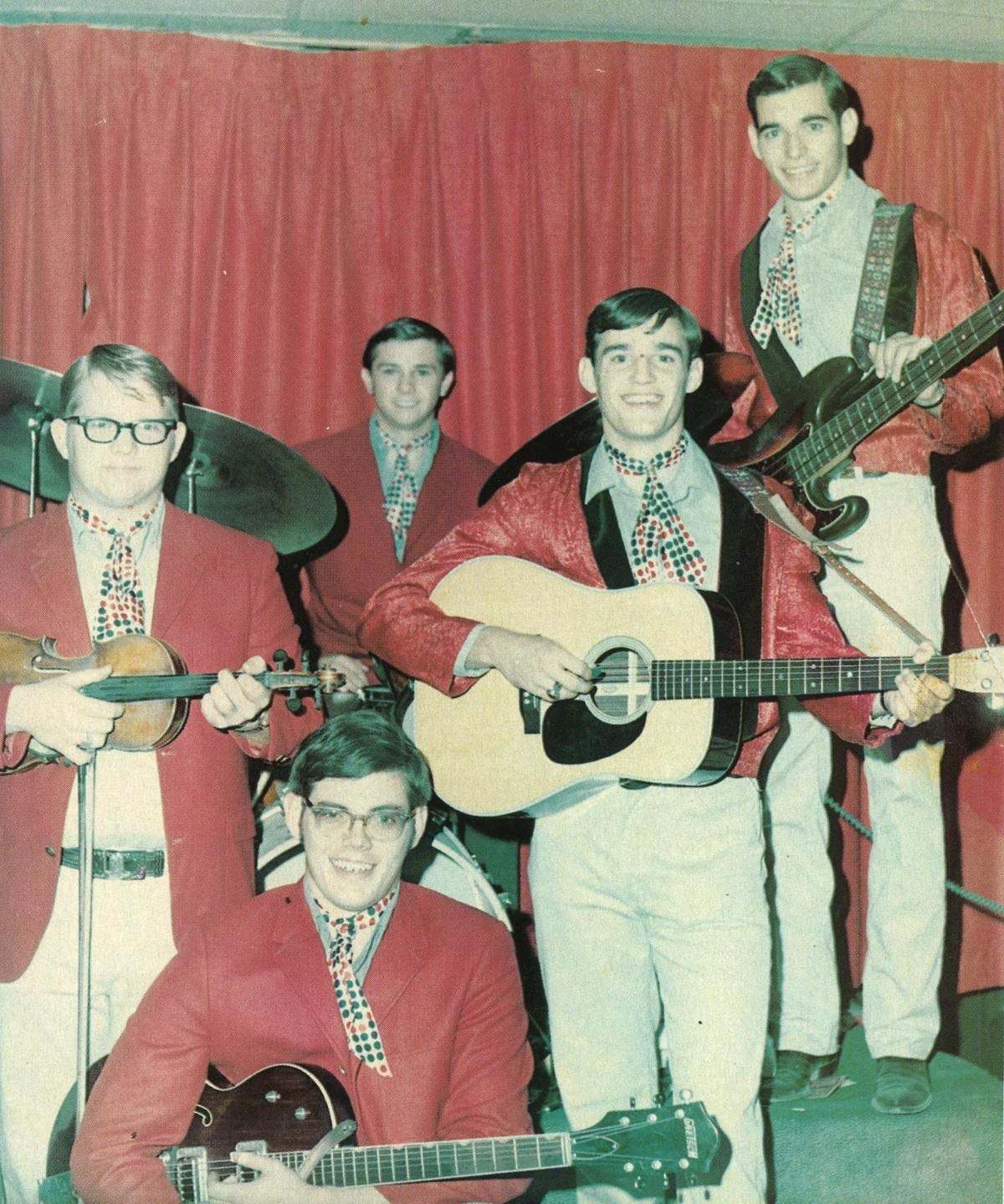 1969: The new Maines Brothers Band. From left, Joe Stephenson, Lloyd Maines, John Dwyer, Steve Maines, Kenny Maines.