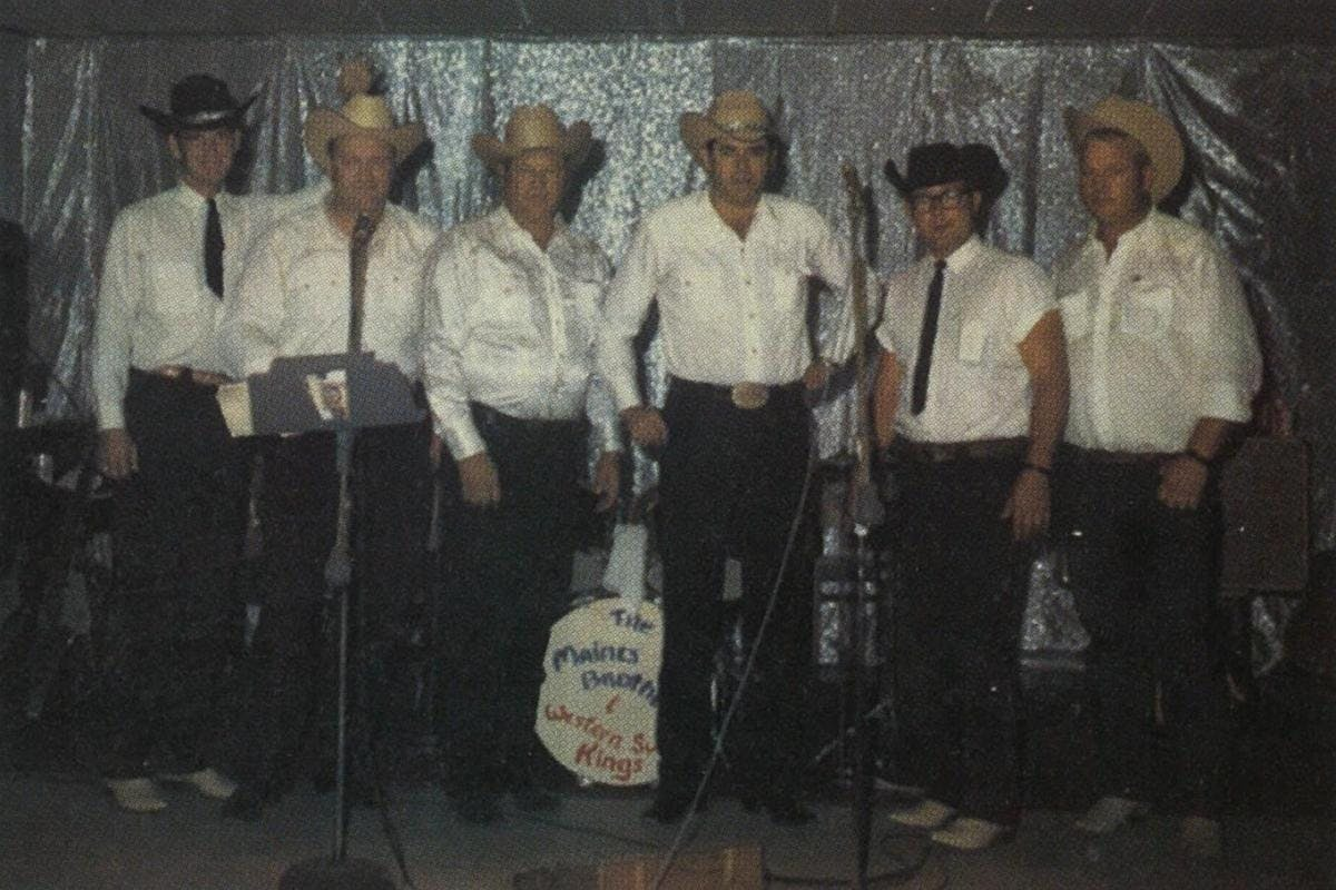 1967: The old Maines Brothers Band, just before retirement. From left, Frank Carter, Curley Lawler, Sonny Maines, James Maines, Gerald Braddock, Fernie Reed.