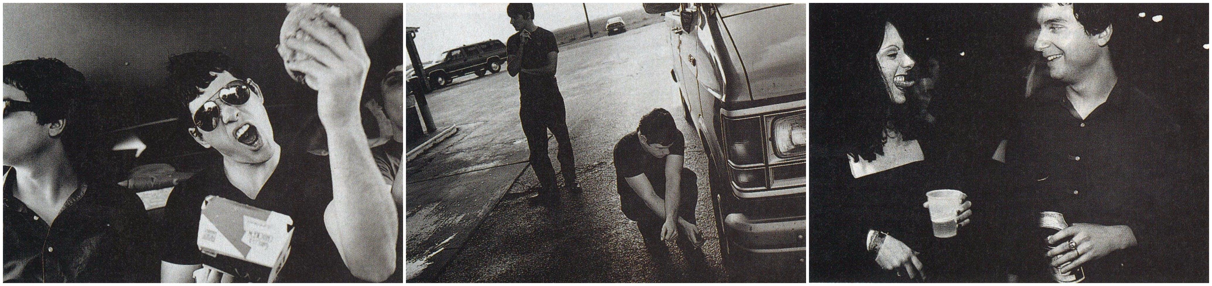Jason exults over a typical meal on the road: a burger from McDonald's. Conrad lingers in the background at a Stuckey's as Jason checks out yet another problem with the van. Finished for the night, Neil relaxes with a beer and enjoys the attention of an admiring female fan.