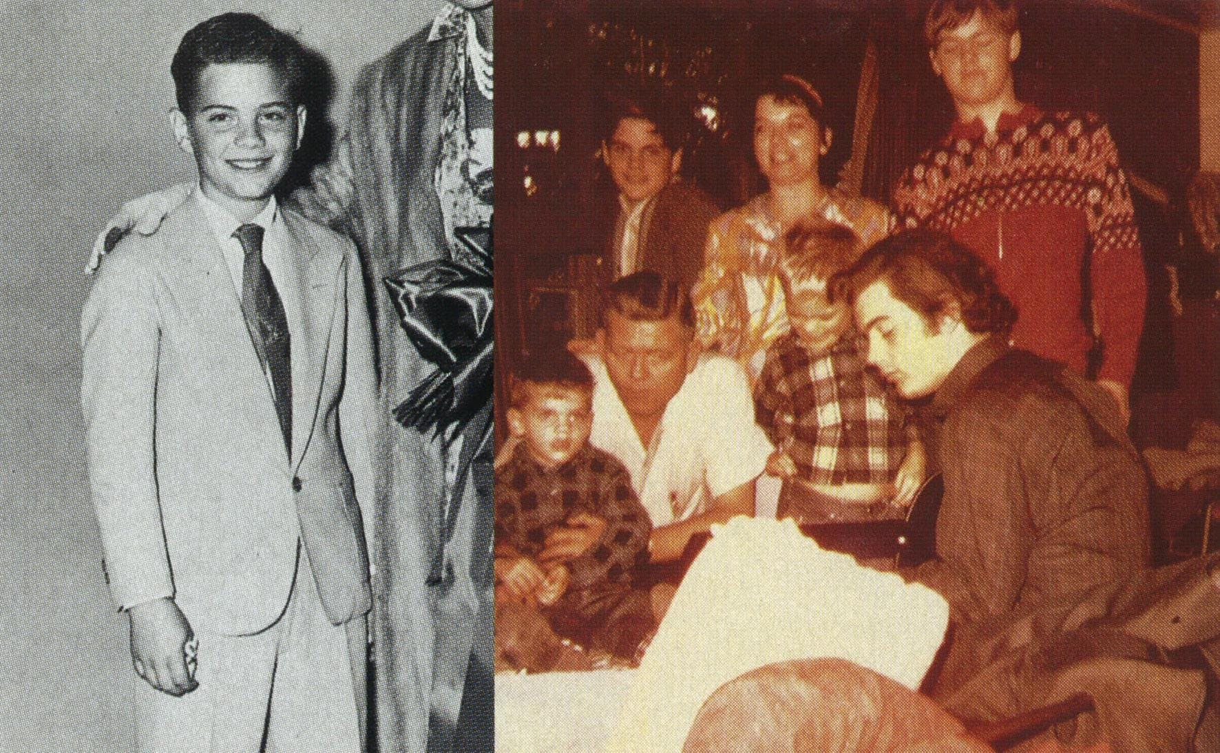 Left: The dapper preteen in 1959. Right: playing guitar for (from l.) Sumner, Roger, Don, Evelyn, Ben, and Mike in 1966.
