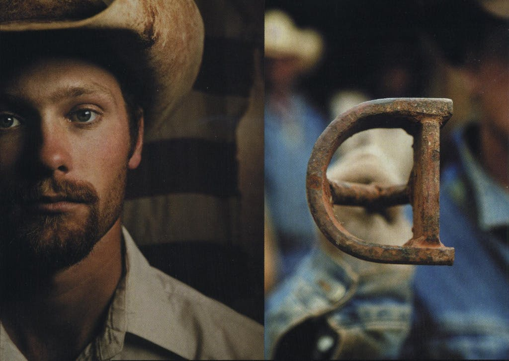Left to right: Ranch hand Shane Bone, the backward-D brand.