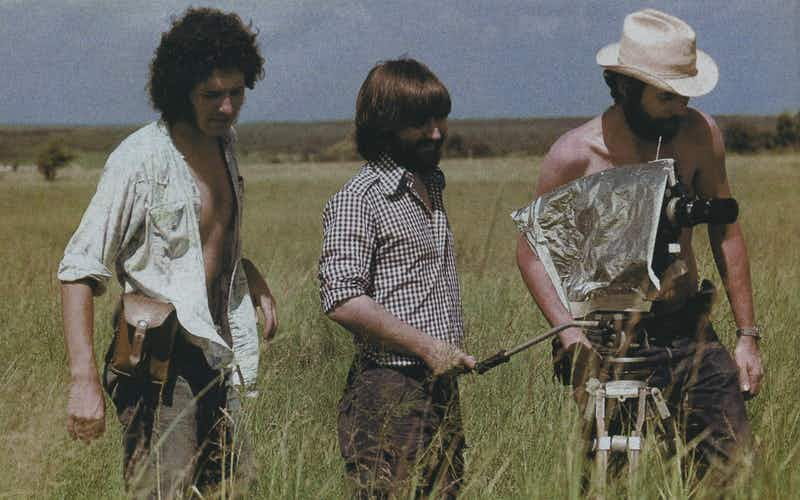 Making History: Left to right, cinematographer Daniel Pearl, Hooper, and a crew member on the Chainsaw set in 1973.