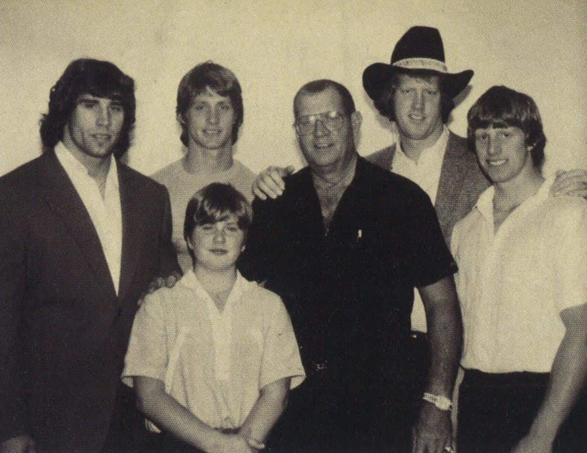 The Von Erich Men: Kerry, Kevin, Chris (in front), Fritz, David, and Mike on Thanksgiving Day in 1983.
