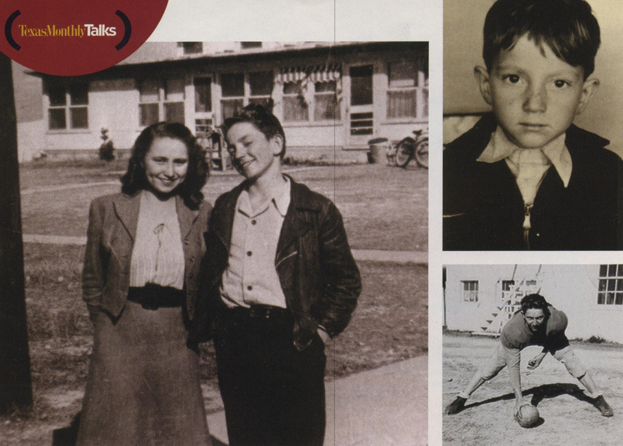 Phases and Stages: Clockwise from left, with his sister, Bobbie, in 1946; as a second-grader; playing football for Abbott High School.