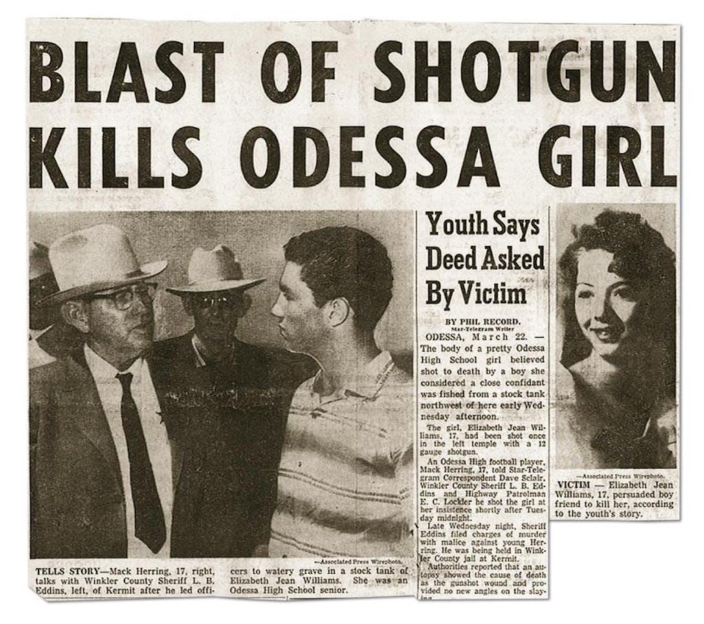 The Fort Worth Star-Telegram's banner headline about Betty's death.