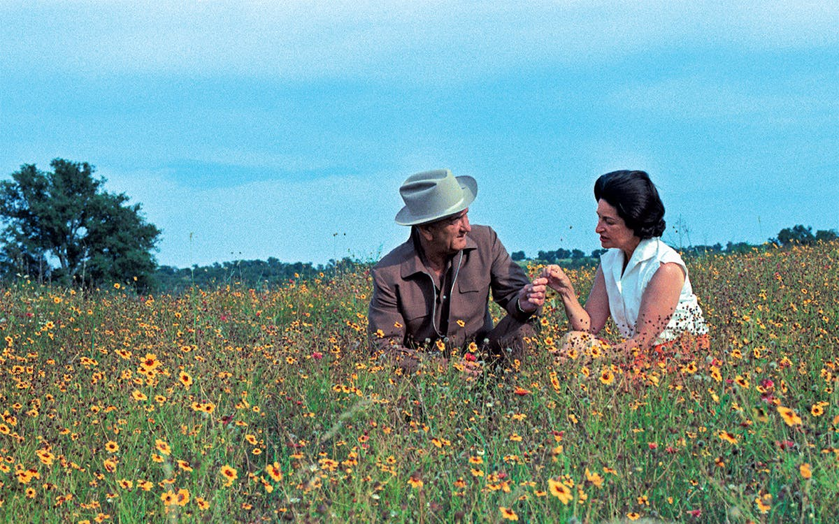 The Johnsons in a field of Mexican hat near the LBJ Ranch in 1968.