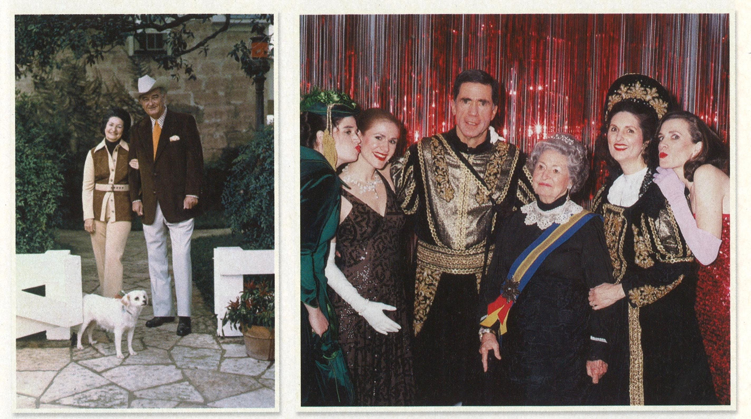 From left: The Johnsons at the ranch a few days before their thirty-eighth wedding anniversary, 1972. With (from left) granddaughters Jennifer and Lucinda Robb, son-in-law Charles Robb, daughter Lynda Robb, and granddaughter Catherine Robb at a costume party in 2003.