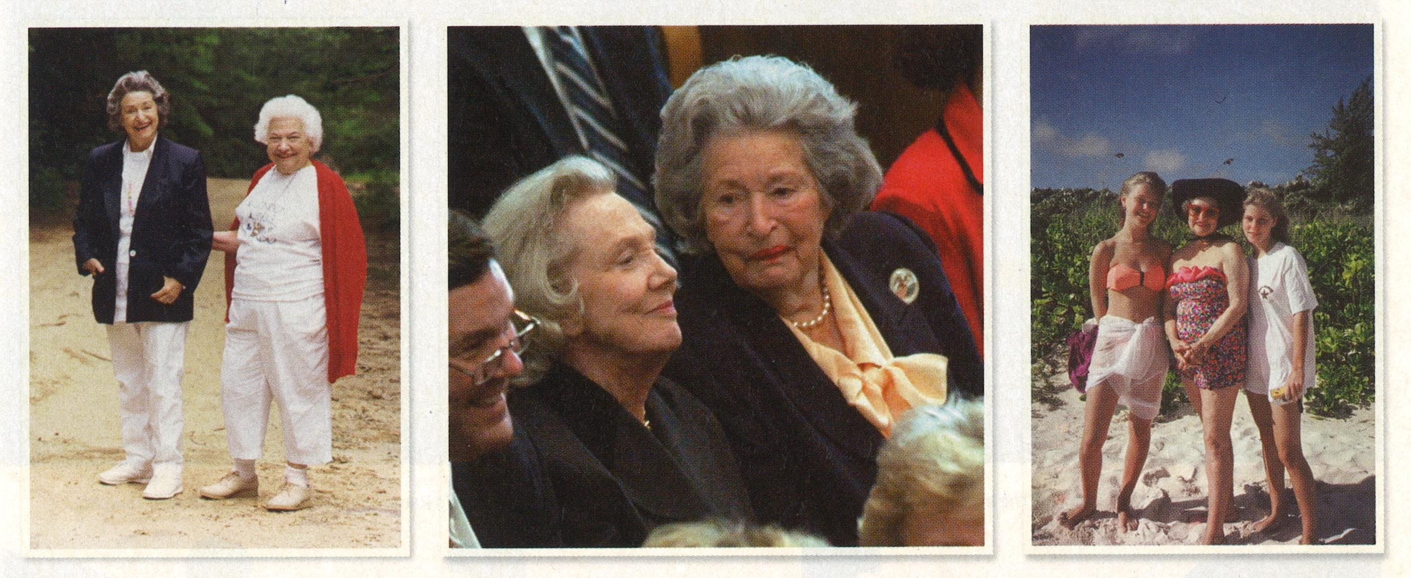 From left: On Martha's Vineyard with Liz Carpenter, her former press secretary. At a memorial service for George E. Christian, Lyndon's former press secretary, with Nellie Connally, the wife of late governor John Connally. In the Virgin Islands with granddaughters Rebekah (left) and Claudia Nugent.