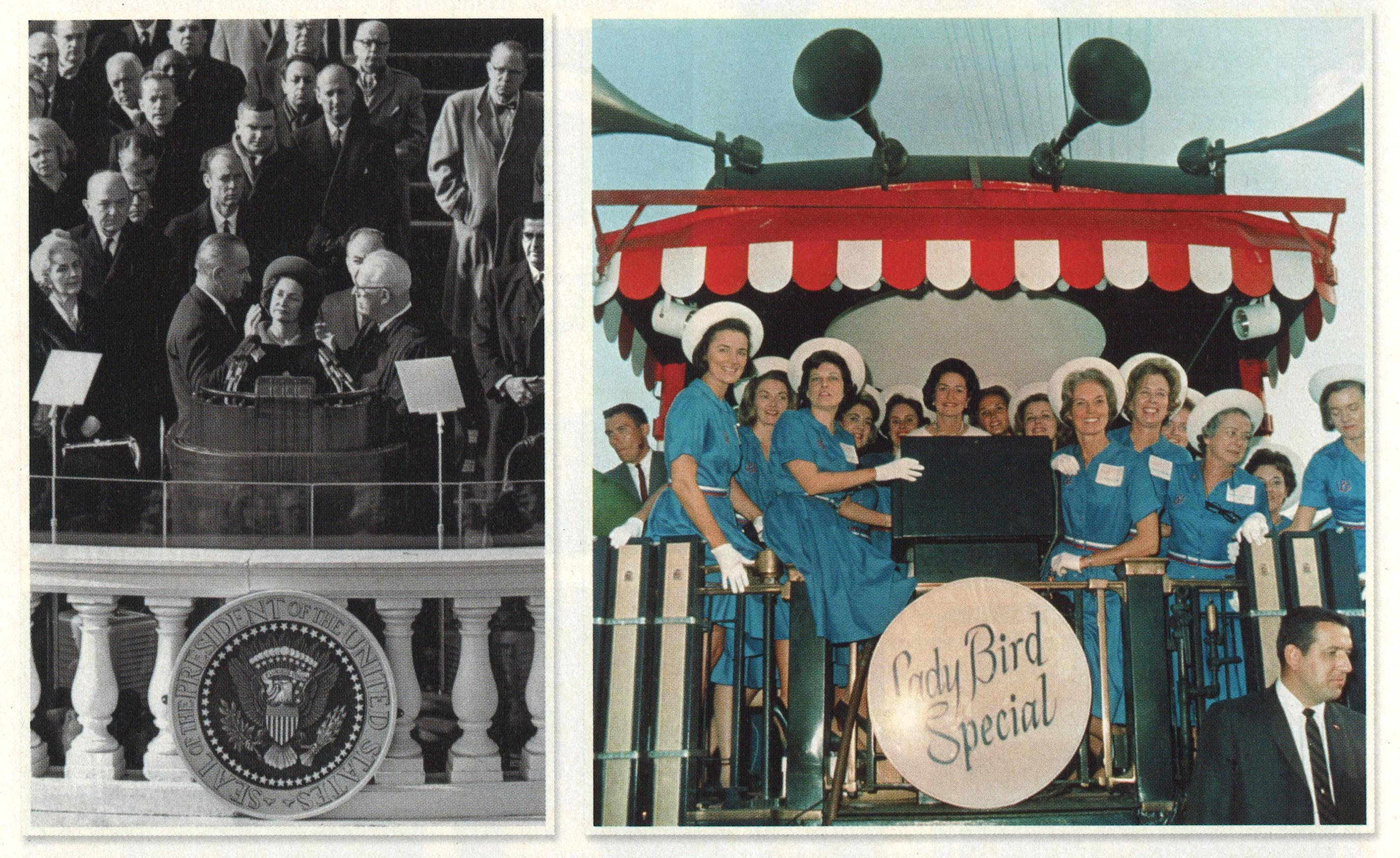 From left: At Lyndon's inauguration in 1965. Riding through the South on the Lady Bird Special during the 1964 campaign.