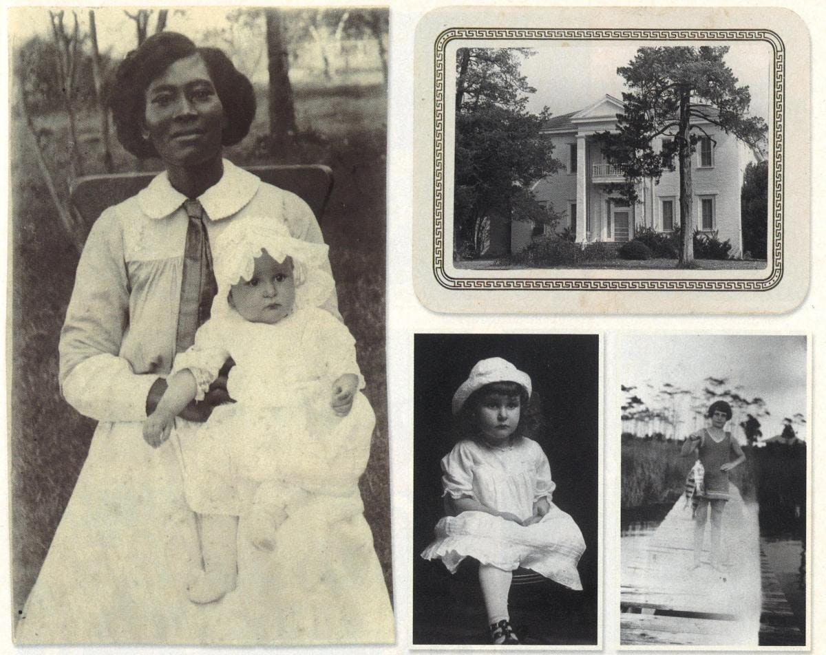 Clockwise, from left: A six-month-old Claudia Alta Taylor with Alice Tittle, the Taylor family maid who nicknamed her Lady Bird. The Taylor mansion, known as the Brick House, in Karnack. With a string of fish (date and location unknown). Childhood portrait taken around 1915.