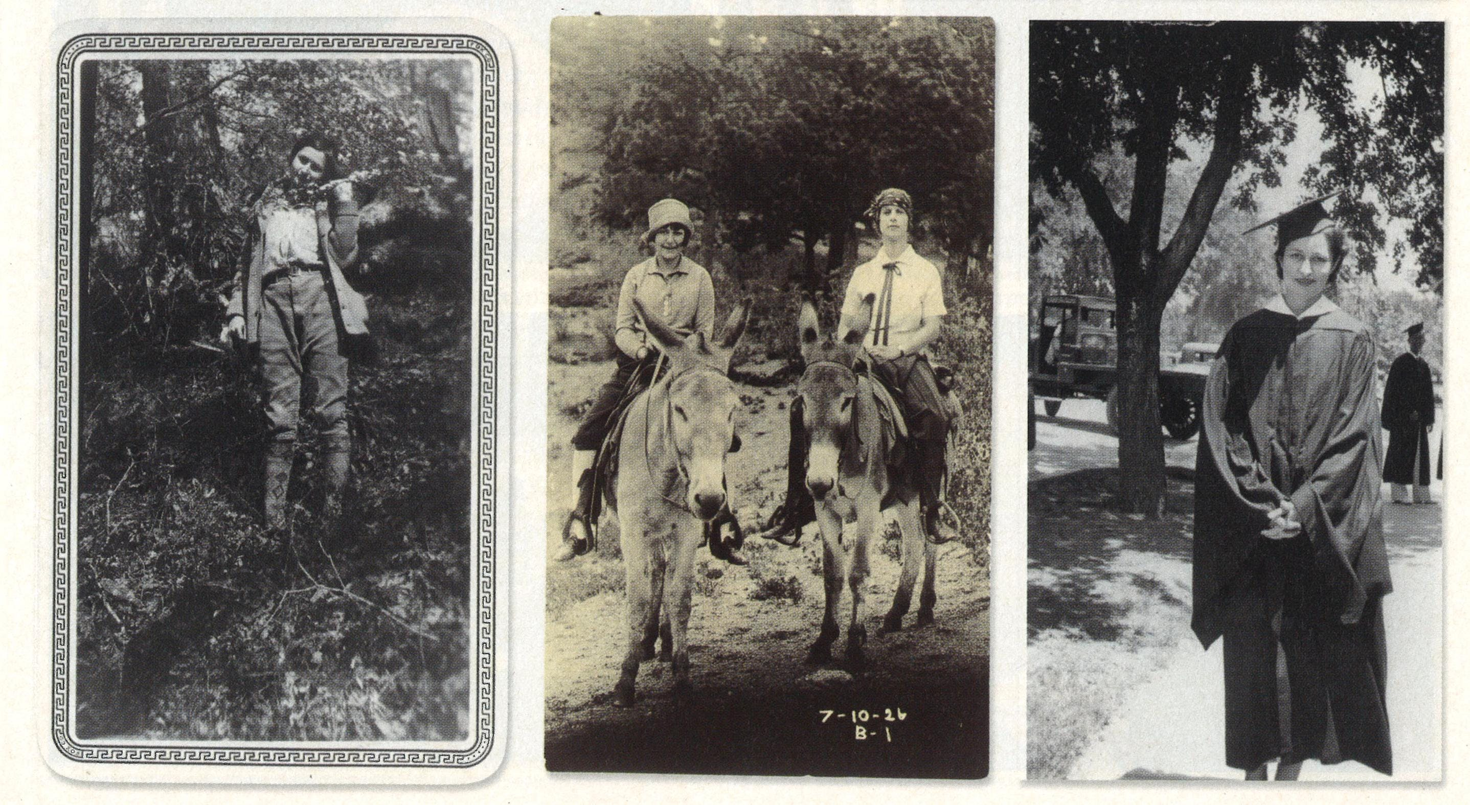 From left: Near Caddo Lake (date unknown). Riding donkeys with a friend in 1926. At her graduation from the University of Texas in 1934.