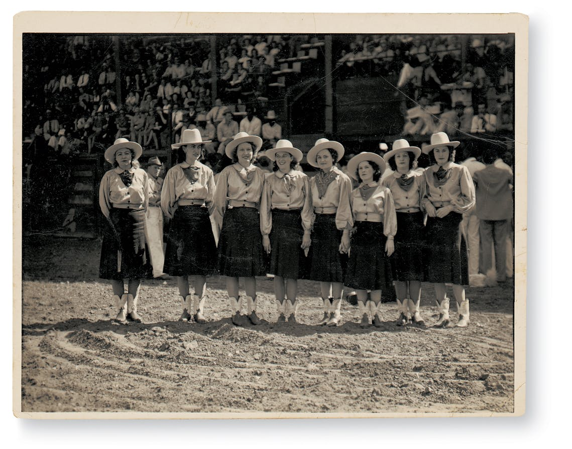 The original members of the Goree All Girl String Band in their handmade uniforms at a rodeo performance in Shreveport, Louisiana.