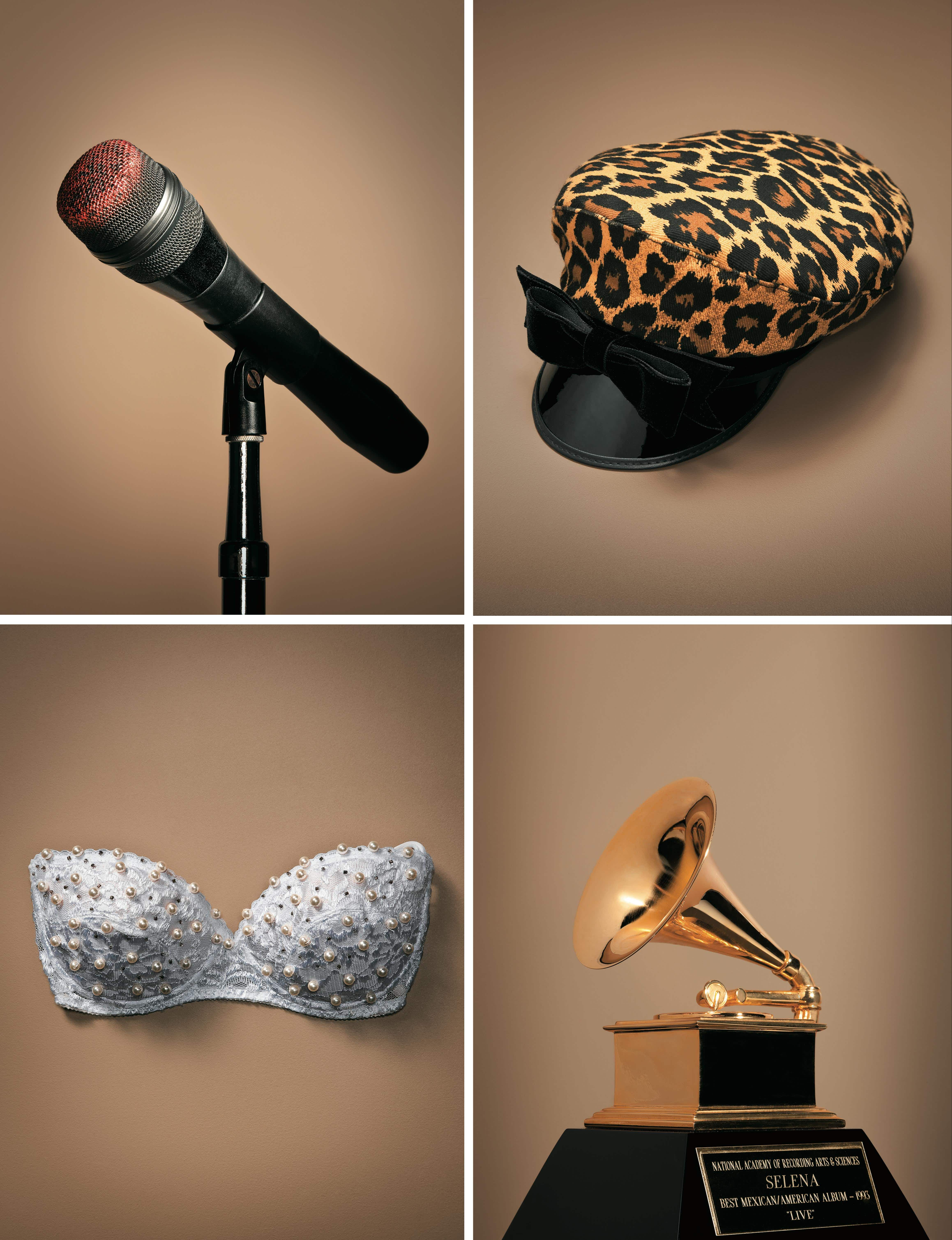 From top left: Selena's lipstick-covered microphone, which she frequently had to have cleaned; one of the singer's favorite hats, often worn at autograph signings; the 1993 Grammy for Live!; the bustier Selena hand-beaded for her 1994 Astrodome show.