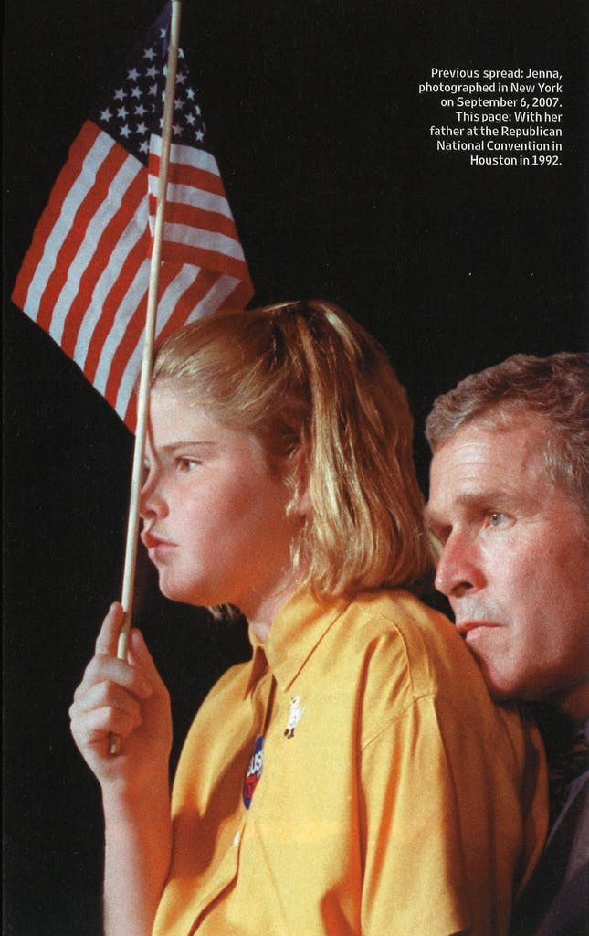 Jenna with her father at the Republican National Convention in Houston in 1992.