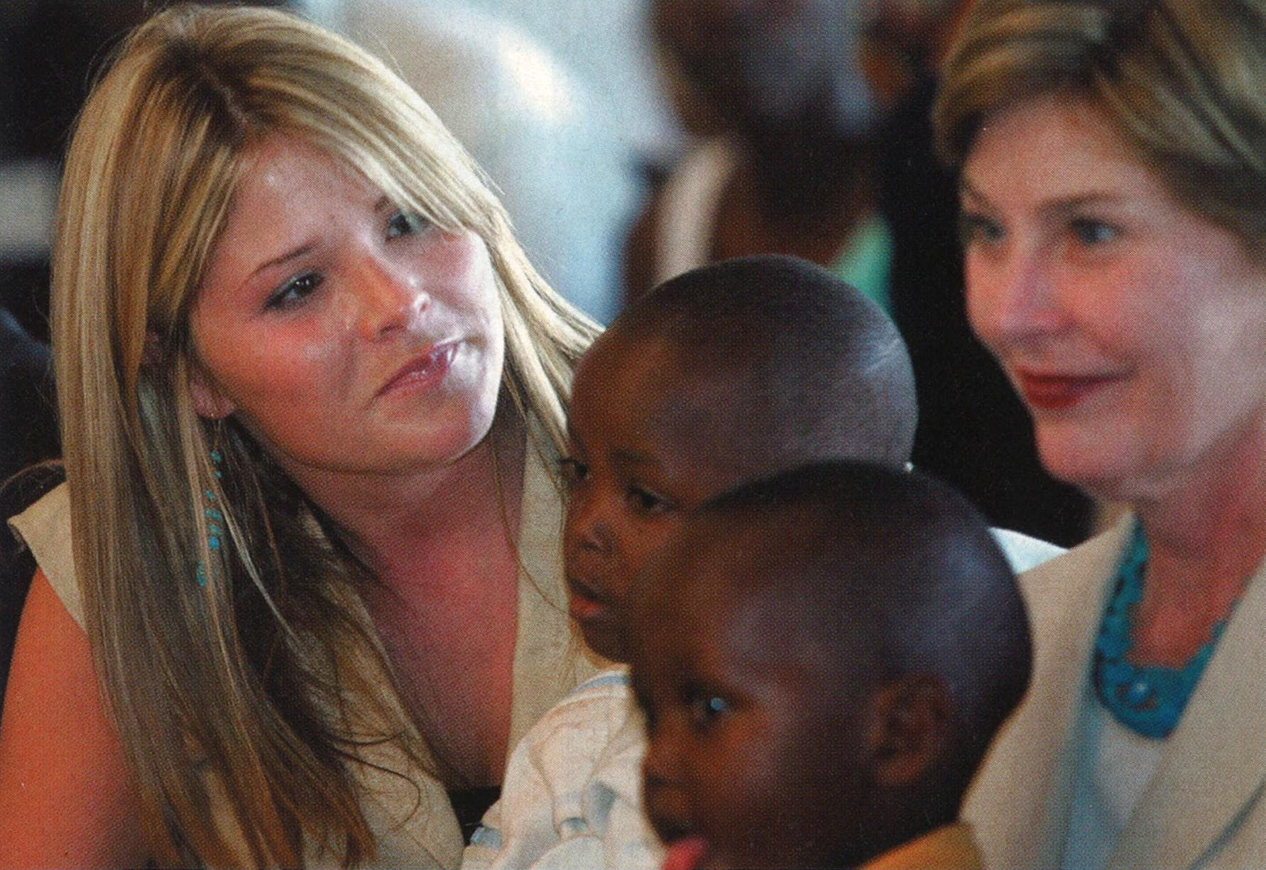 Jenna with two children and her mother at the Evangelical Friends Church of Kagarama in Kigali, Rwanda, in 2005.