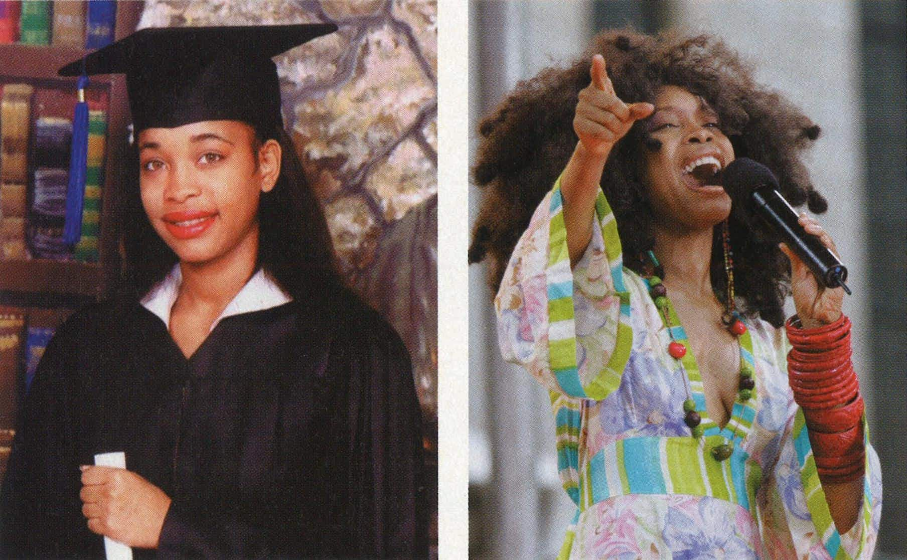 Posing for her senior picture at Dallas's Booker T. Washington in 1989, performing at New York's Bryant Park in 2005.