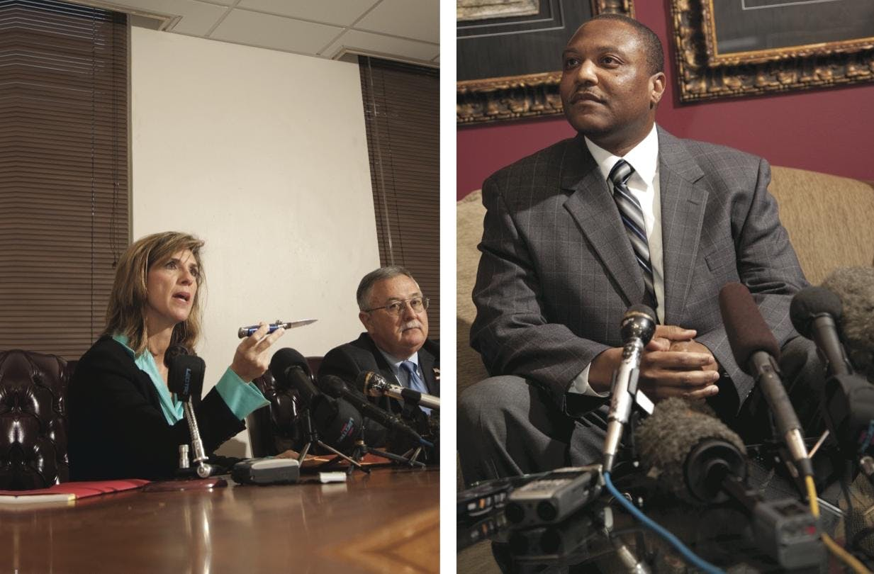 Left: Special Prosecutor Kelly Siegler and district attorney Bill Parham at the press conference they held in Brenham the day after Graves's release. Right: Graves at his defense team's press conference held in Houston the same day.