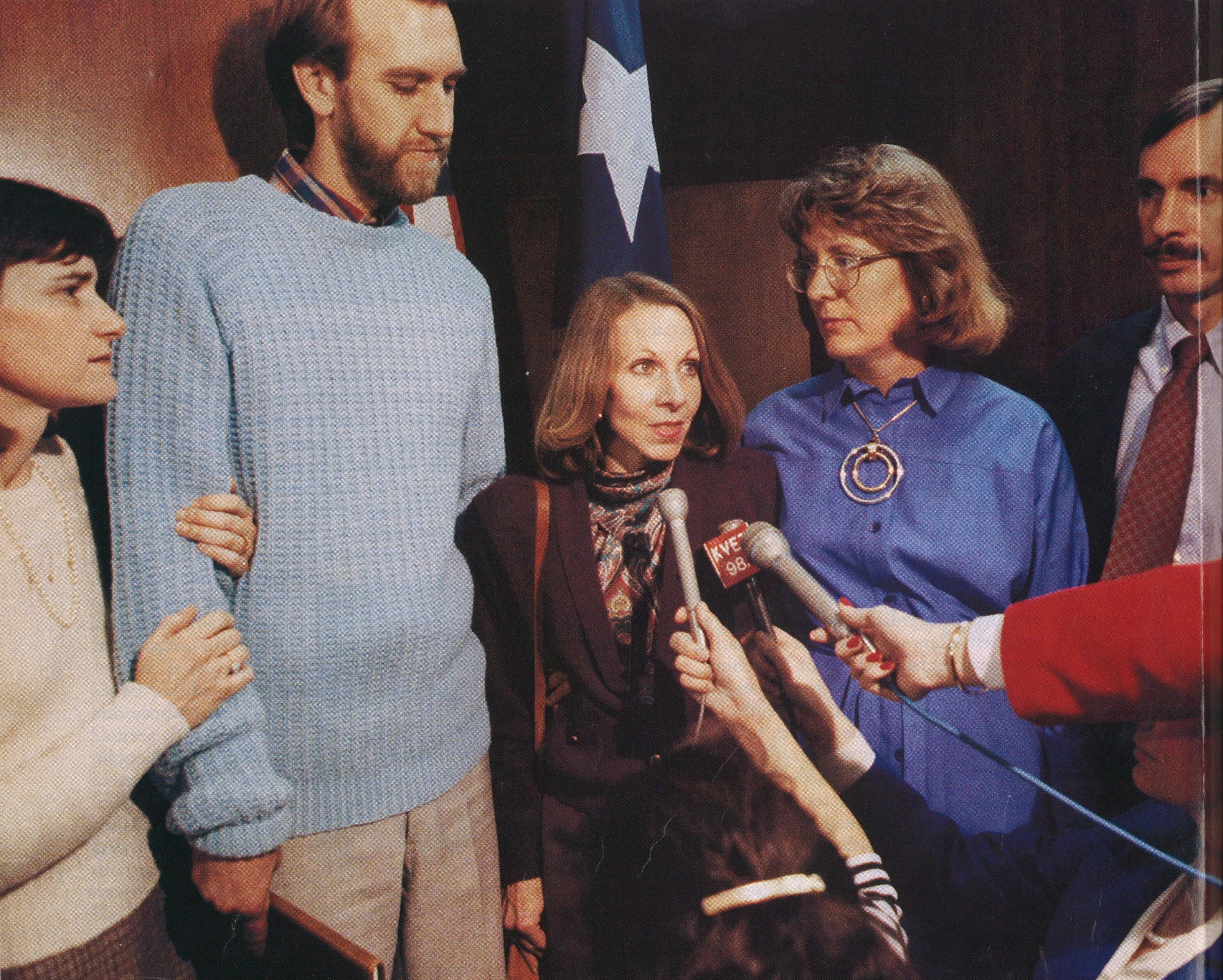 Parents against Satan (left to right): Sandra and Sean Nash, Suzanne Chaviers, and Carol and Earl Staelin speaking to reporters after the trial.