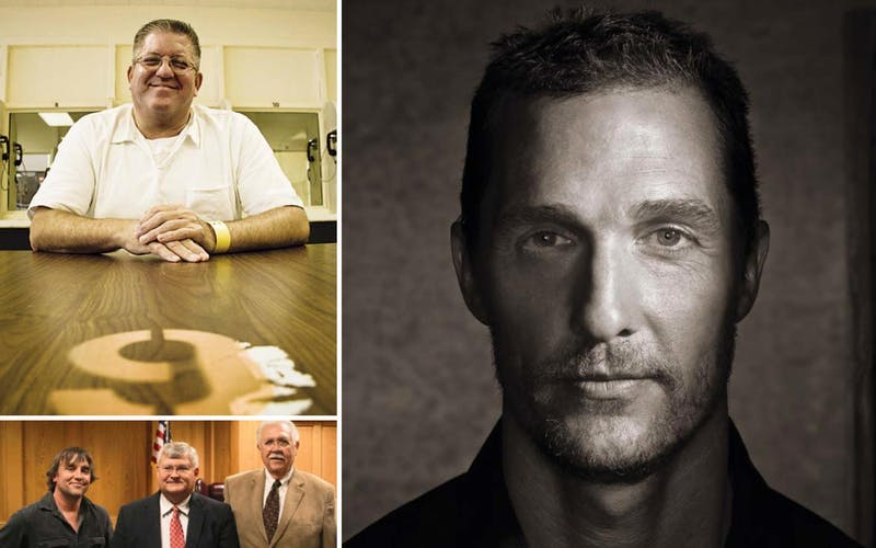"Top left: Convicted murderer Bernie Tiede. Right: Mathew McConaughey took on the role of criminal district attorney Danny Buck Davidson (bottom middle, with director Richard Linklater and defense attorney Clifton ""Scrappy"" Holmes)."