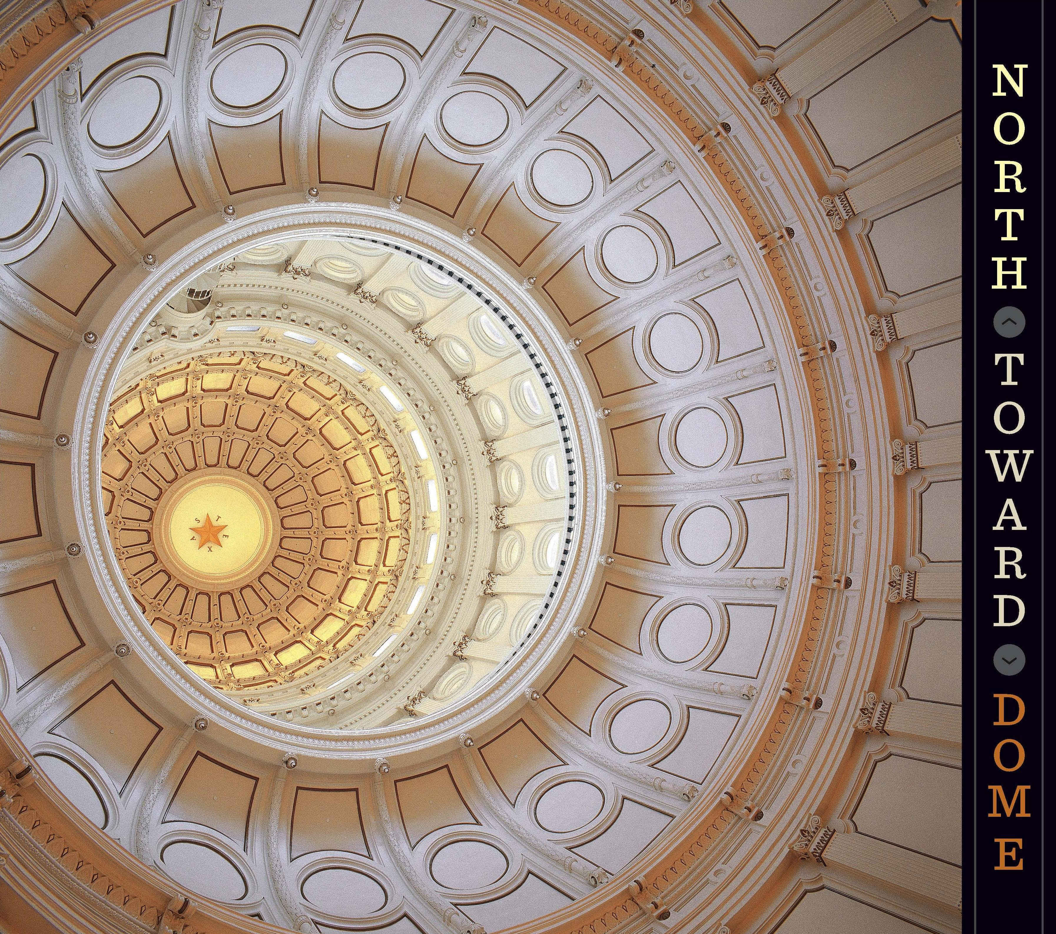 An interior view of the inner dome (the Texas star is 218 feet above the rotunda.)