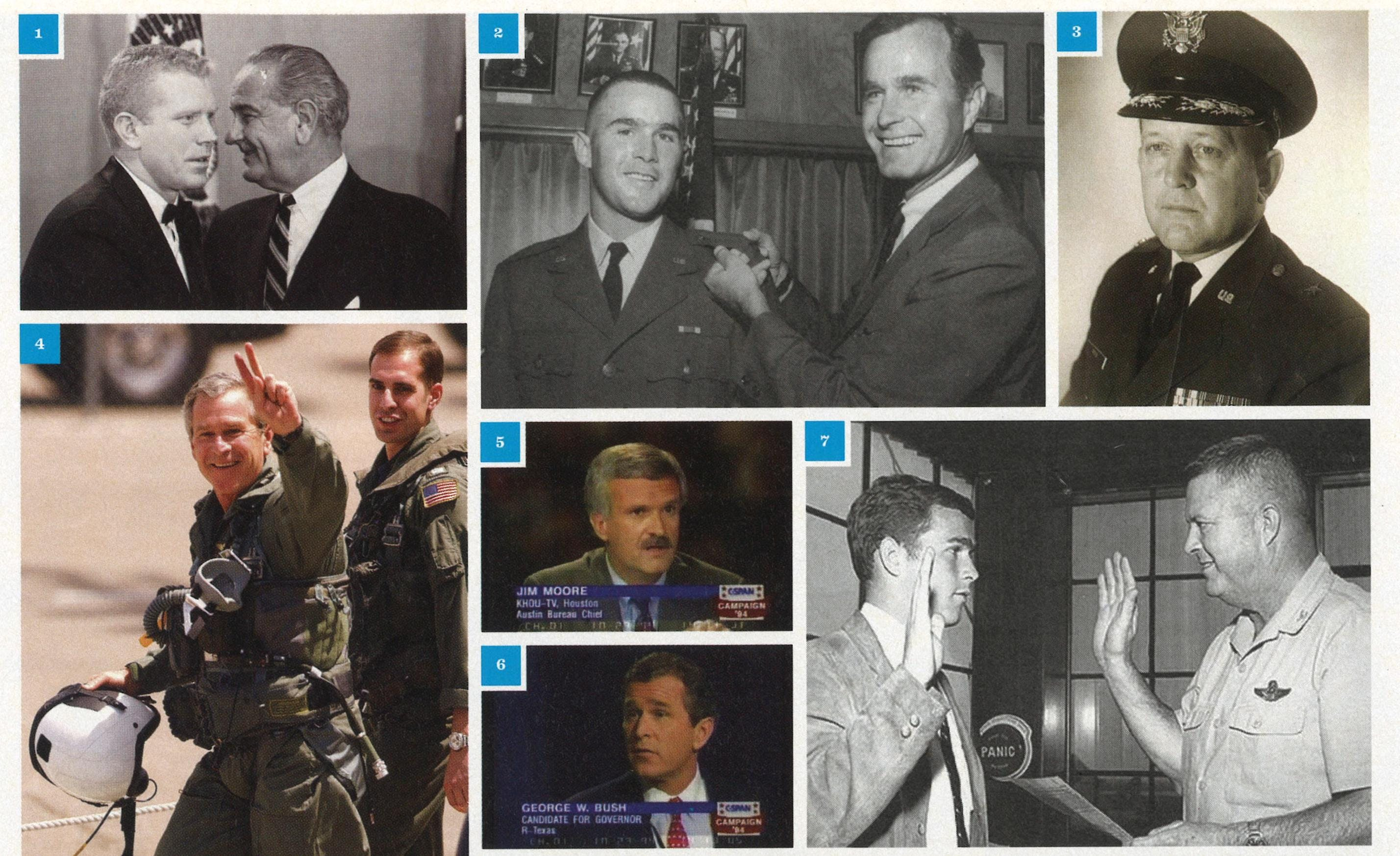 "1. Speaker of the Texas House Ben Barnes and President Lyndon Johnson in 1967. 2. Bush and his father, shortly after he was made an officer in the Texas Air National Guard in 1968. 3. Brigadier General James Rose. 4. Bush in 2003 after his infamous speech on the deck of the USS Abraham Lincoln. 5. & 6. Jim Moore and Bush at the 1994 gubernatorial debate. 7. Bush with Colonel Walter ""Buck"" Staudt in 1968."