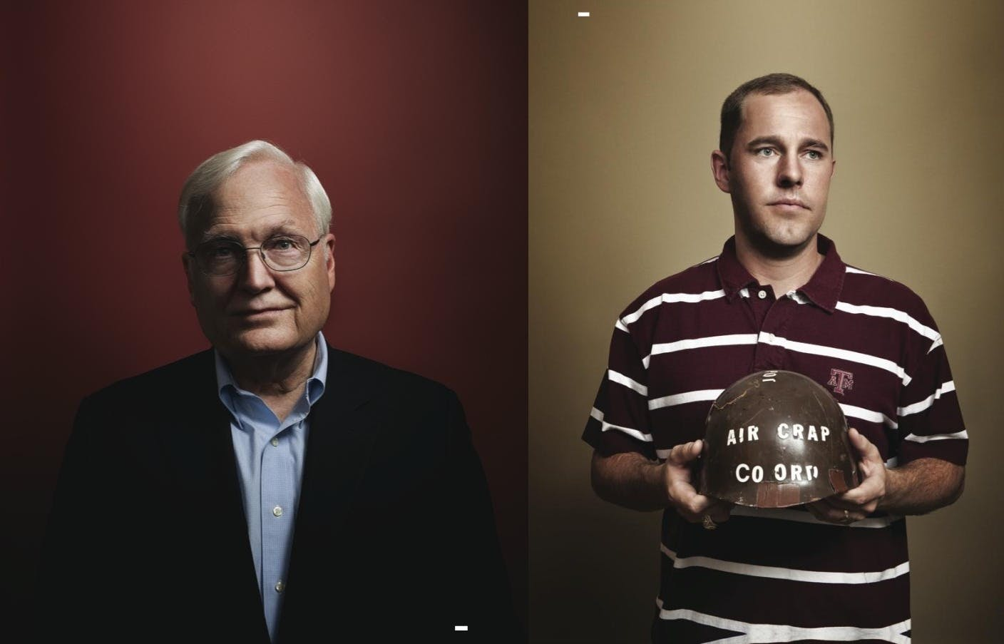 """Left: Ray Bowen, who was the president of A&M during the tragedy, was """"heartsick"""" when he made the decision to cancel the 2002 bonfire. Right: Chip Thiel holding his cracked helmet, or """"pot,"""" was on top of the stack at the time of the accident. He lost three close friends and suffered massive injuries, including a shattered leg and a punctured lung."""