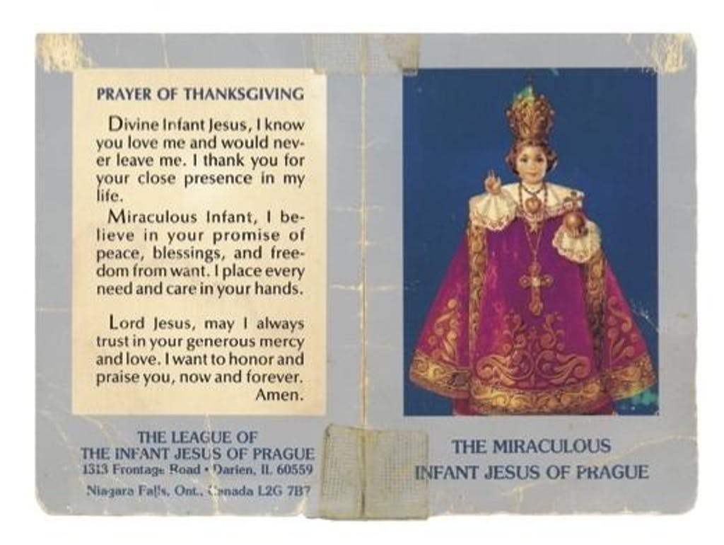 Ann's prayer of thanksgiving card, which she kept by her bedside.