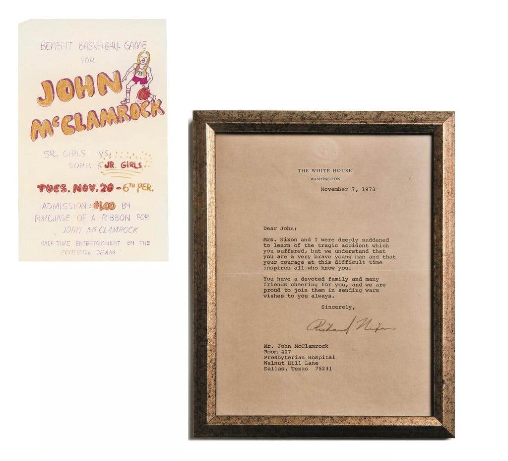 Left: A flyer for a benefit basketball game at the high school, one of many events that were held for John. Right: The letter signed by President Nixon that arrived at the hospital.