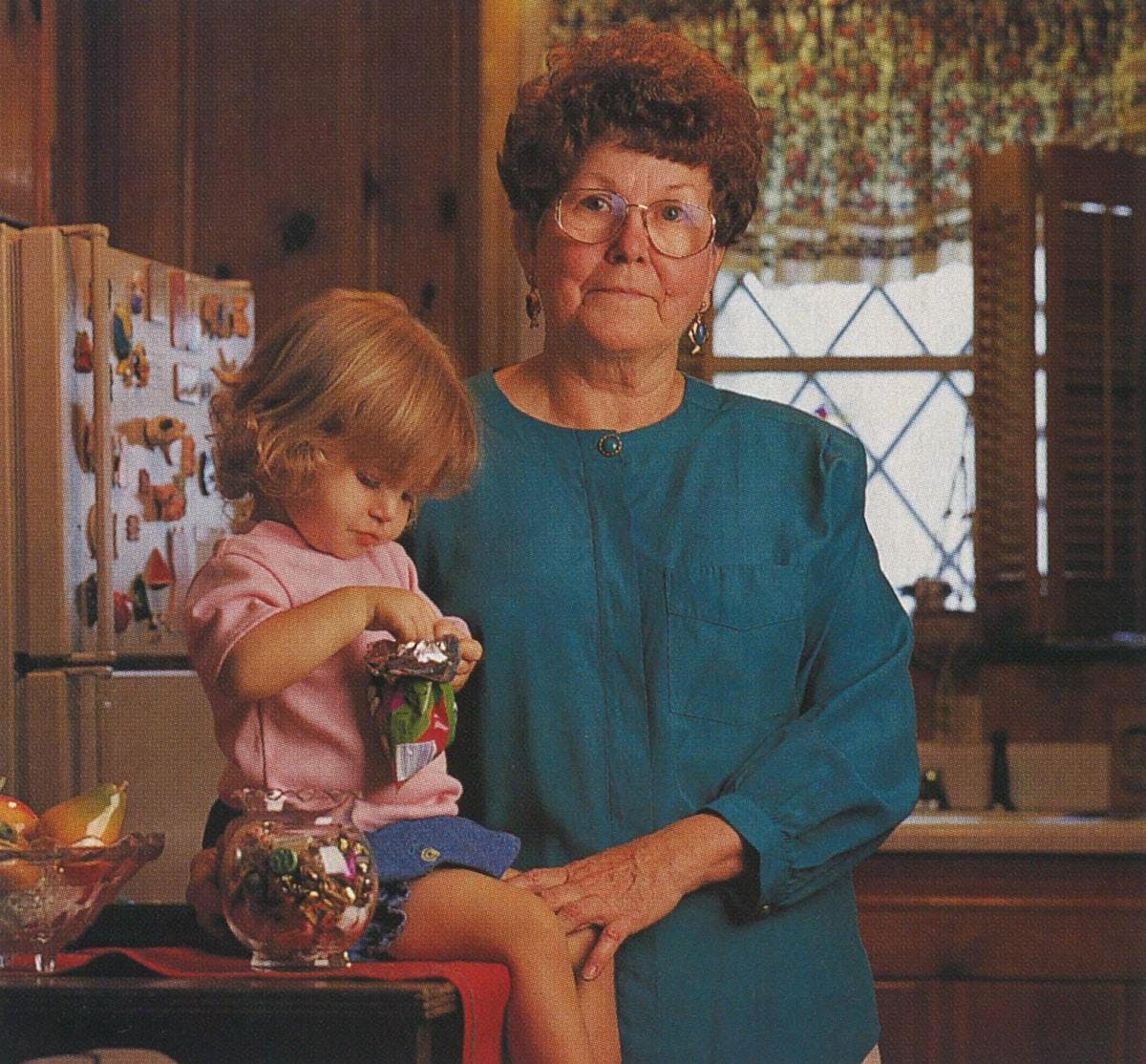 Timmie Jean Lindsey with her granddaughter. Lindsey was the first woman to have silicone implants.