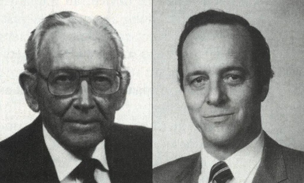 "Thomas Cronin (left) and Frank Gerow, the inventors of the silicone-gel implant. It's ""as harmless as water,"" Dr. Gerow used to say."